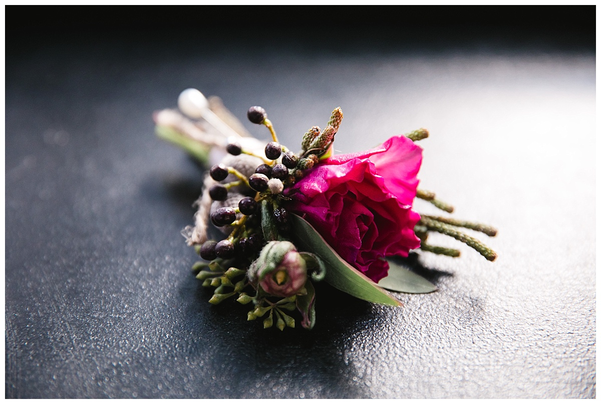 A Boutonniere of a a groom on a wedding day at Guastavinos in New York City.