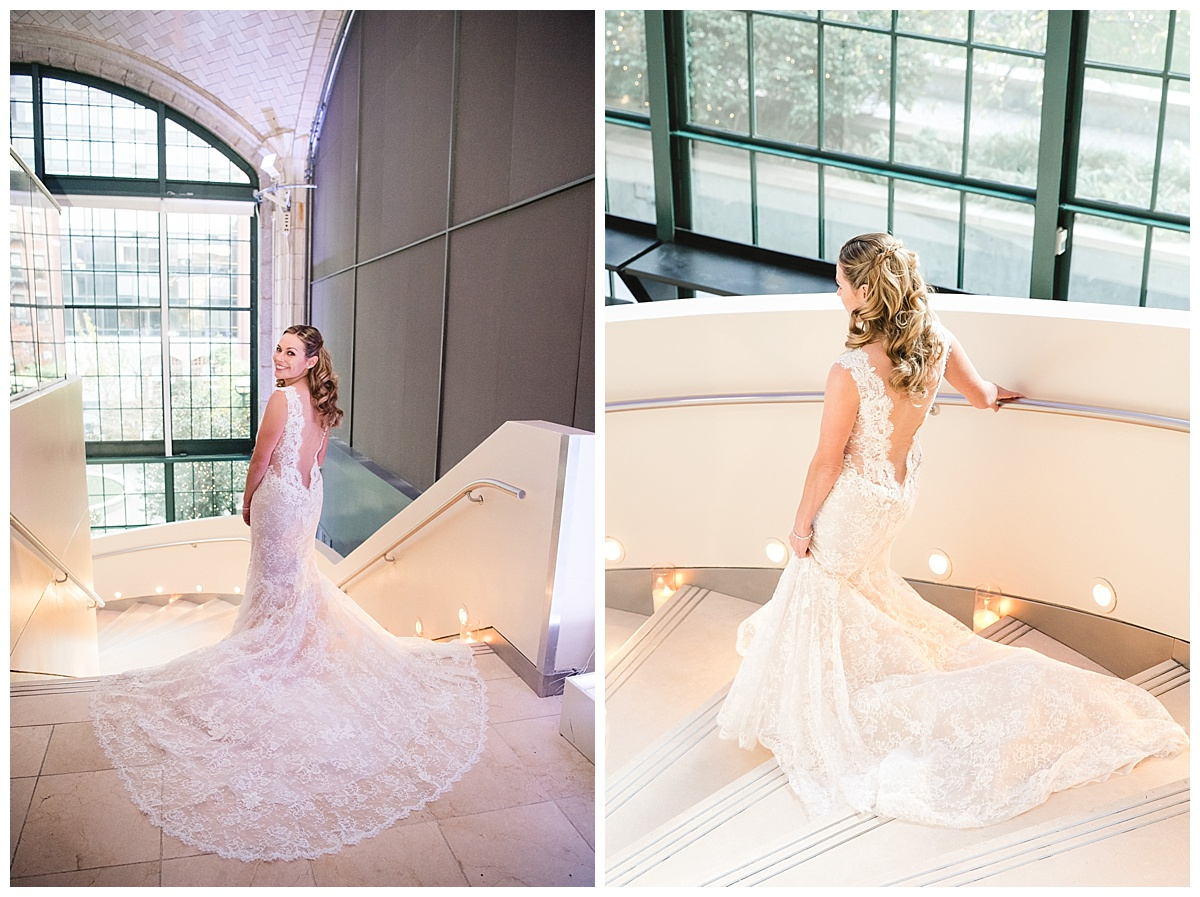 A portrait session of a bride during a first-look on a wedding day at Guastavinos in New York City. Dress by Ines Di Santo.