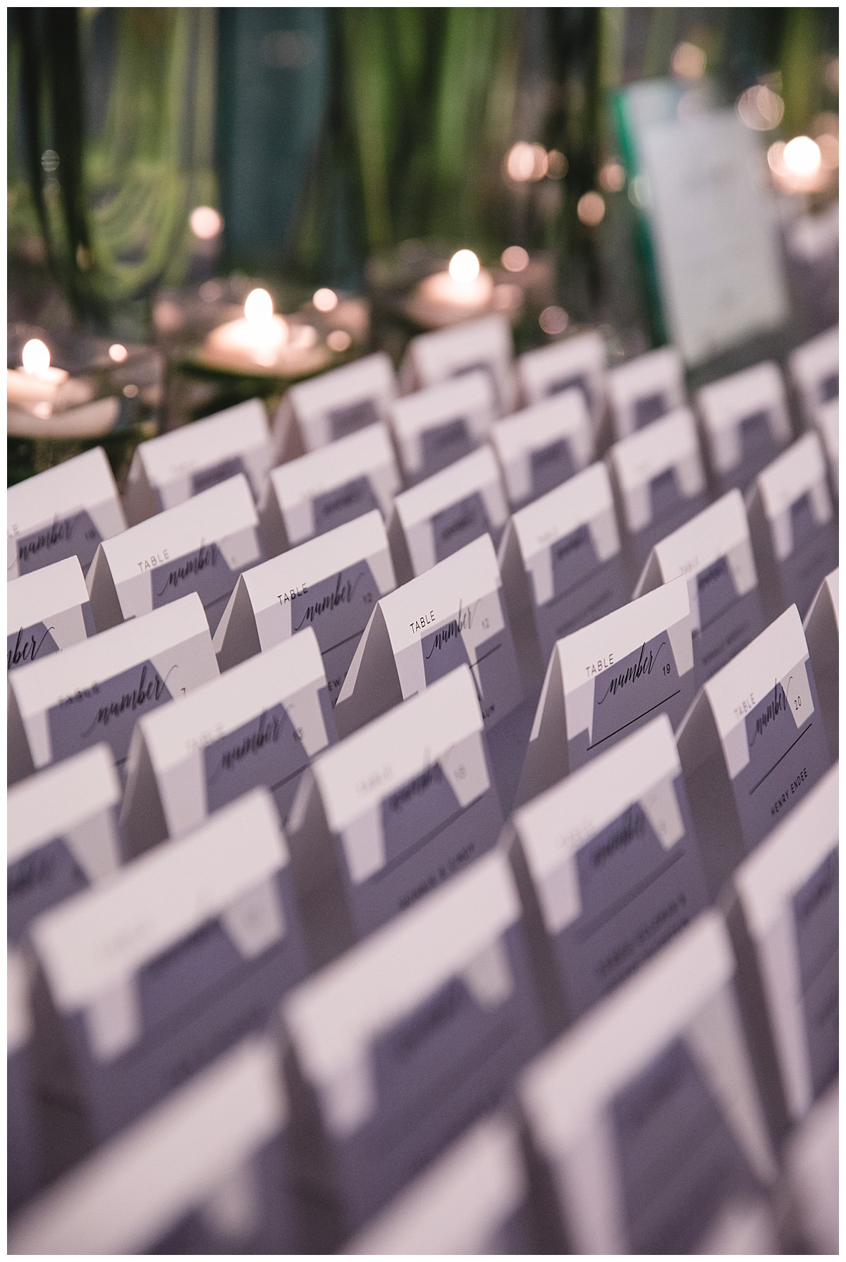 An interior setting of a wedding ceremony and guest cards placement at Guastavinos in New York City.