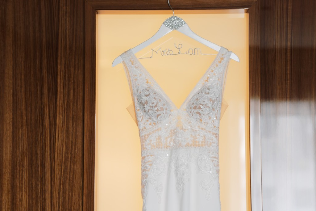 A bride's wedding dress in Mr. C Seaport Hotel.