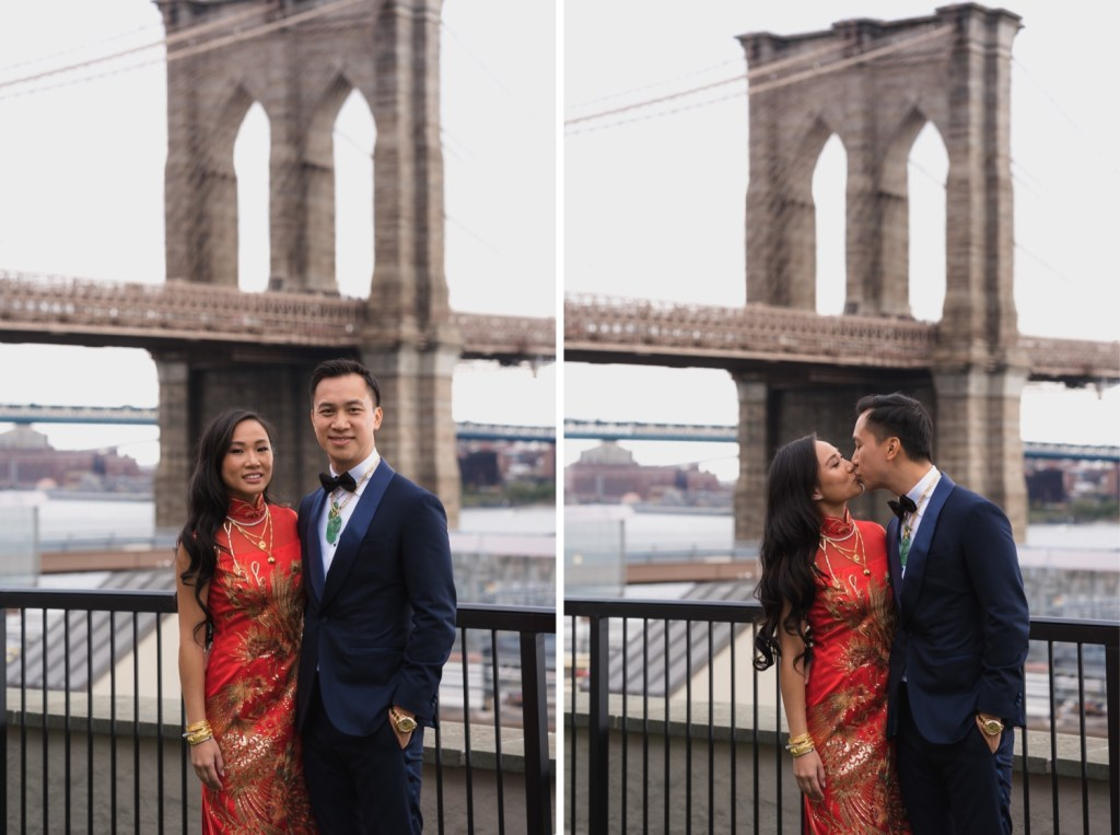 A portrait of a bride and groom with a view of Brooklyn Bridge in a Mr. C Seaport Hotel on a wedding day at Cipriani Wall Street in New York City.