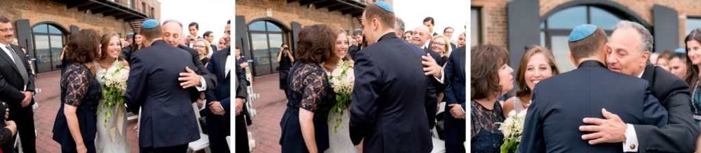 A groom greeting a bride and her parents during a wedding ceremony at Liberty Warehouse, Brooklyn New York.