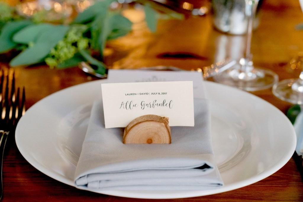 A tableware setting of a wedding reception at Liberty Warehouse, Brooklyn New York.