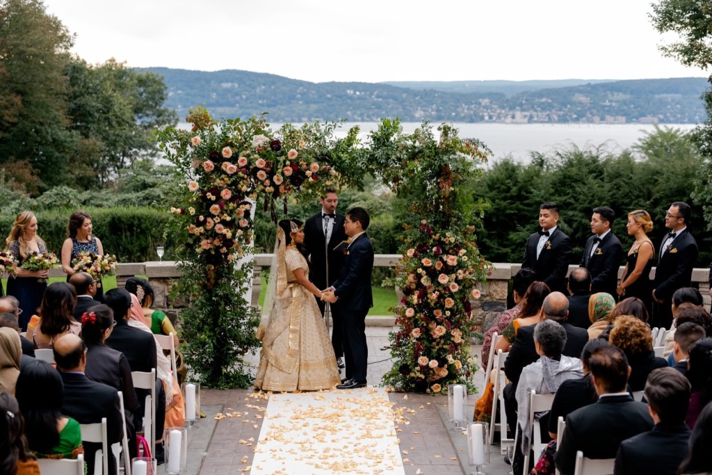 A wedding ceremony at the Tappan Hill Mansion.