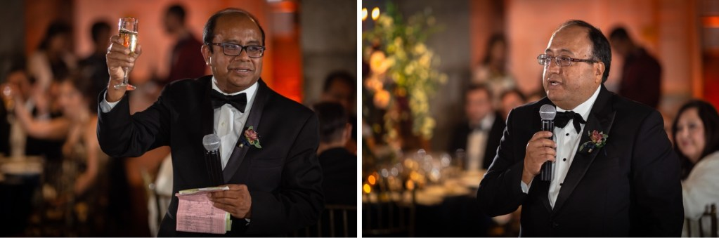 A wedding speeches by a newly wedded couple's fathers during a wedding reception at the Tappan Hill Mansion.