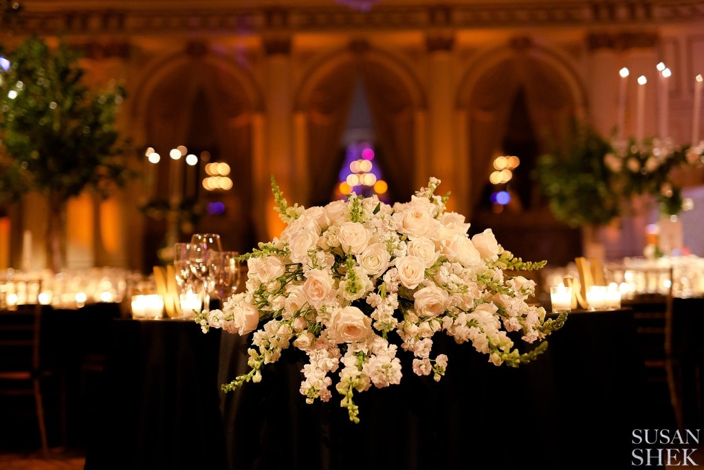 Flowers and decor by Ariston Flowers at The Plaza Hotel