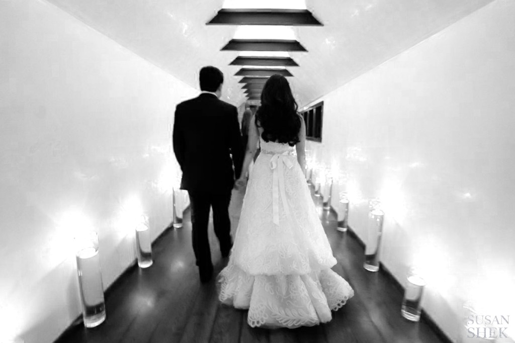black and white hallway with married couple blue hill stone barns