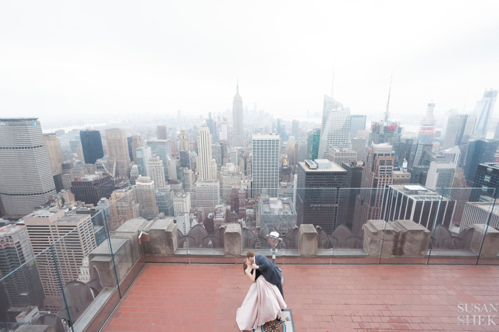 top of the rock outdoors for an engagement photo shoot