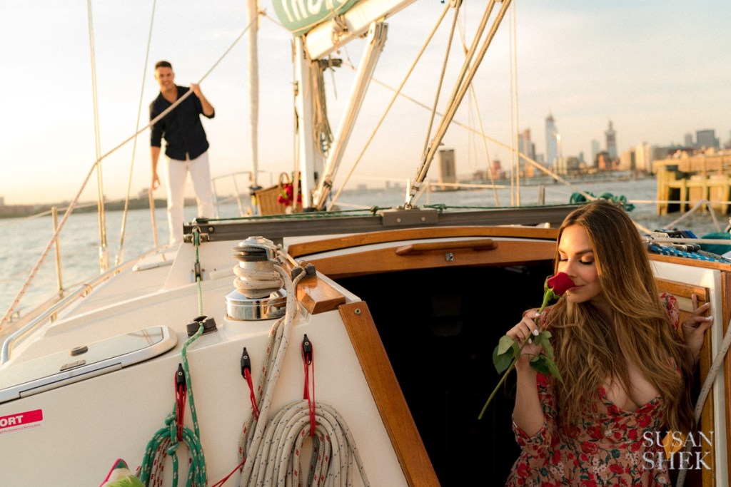 Sailing along the Hudson River on a private sailboat