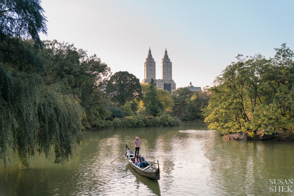 a surprise proposal engagement shoot on a gondola at the lake in central park
