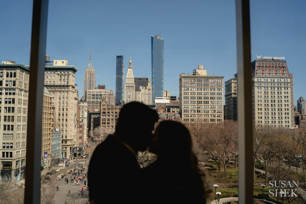 Silhouette of a couple in Union Square Park