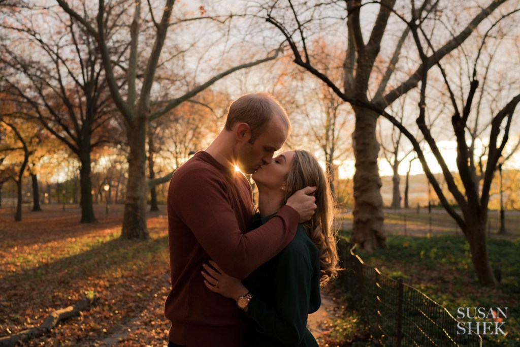 a sunset engagement shoot on riverside park