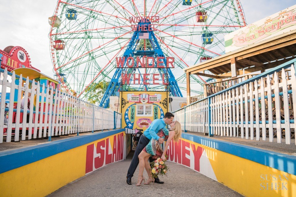 vibrant engagement photo shoot at coney island
