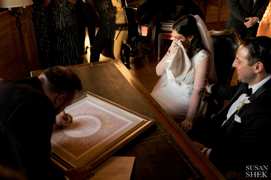ketubah signing with the bride and groom at Oheka Castle