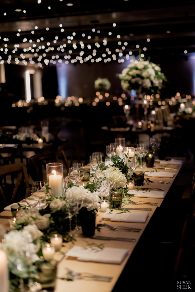 Long table set up at 1 Hotel by Bride and Blossom