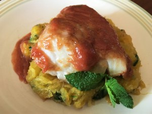 Rhubarb and Ginger glazed Cod on Minty Spaghetti Squash