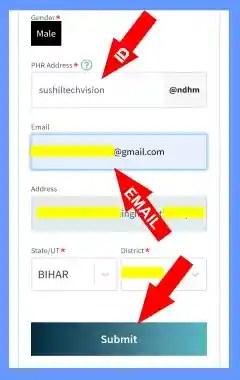 PHR Address वाले खाने में Health ID टाइप करें