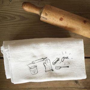 hand printed PIE flour sack towel