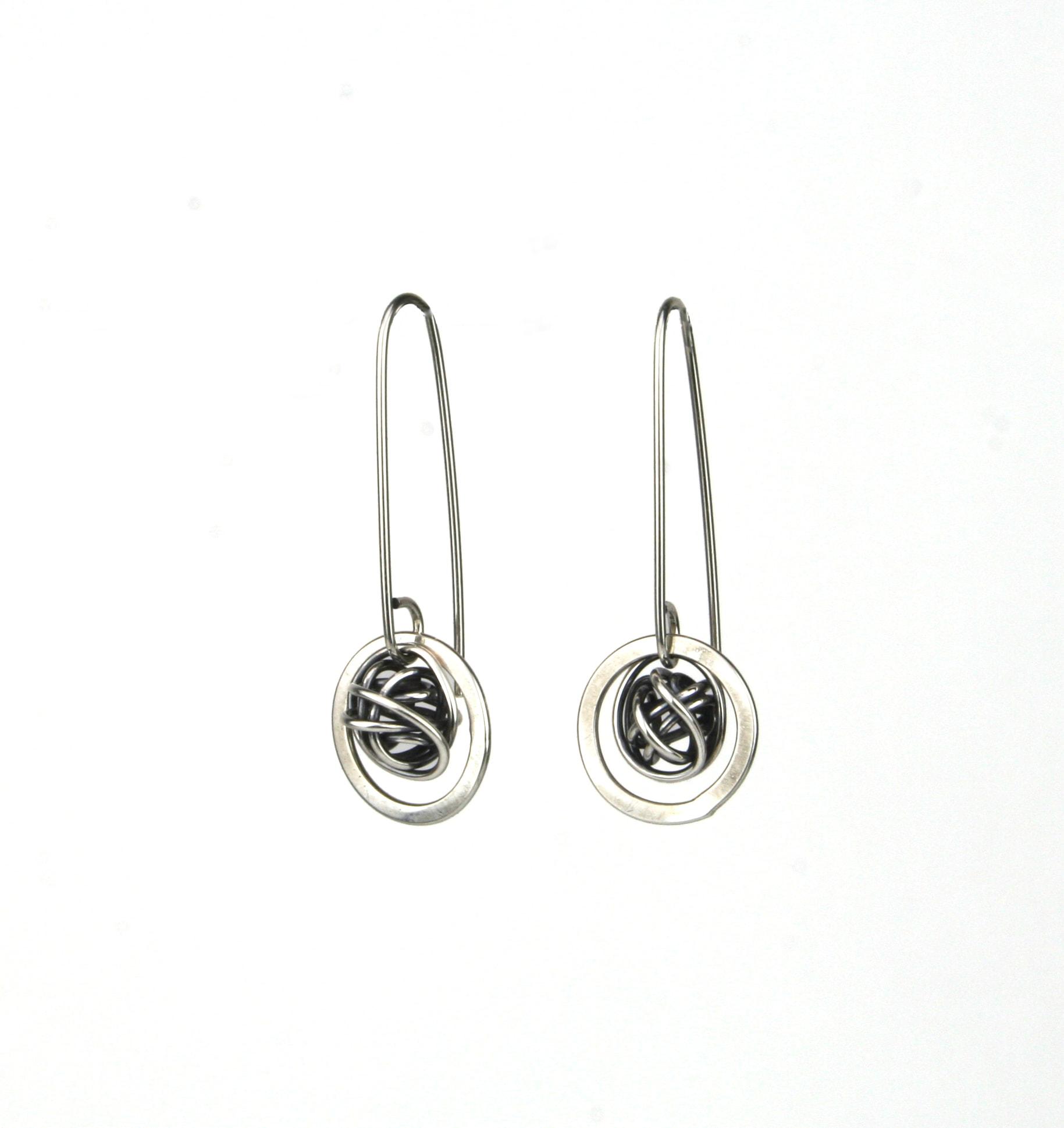 Saturn Earrings In Oxidized Silver Oxidized Copper Or