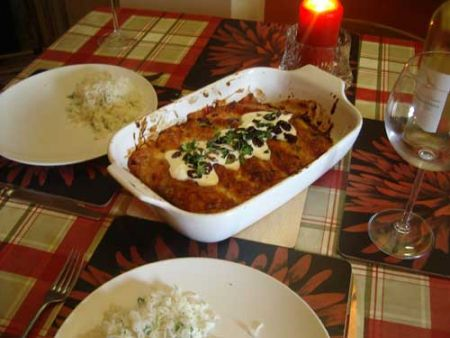 Beef Enchiladas In A Red Chilli Sauce
