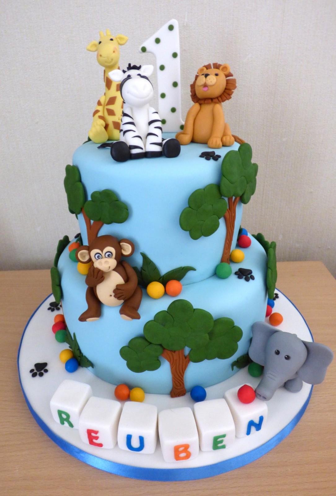 2 Tier Jungle Animal Themed 1st Birthday Cake « Susie's Cakes
