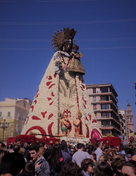 the flower offering during las fallas in valencia