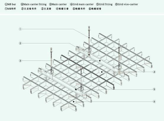 Installation T bar Metal Grid Ceiling Tiles, Aluminium