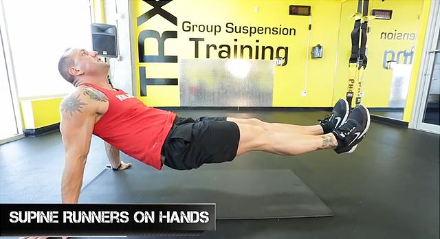 trx supine runners on hands