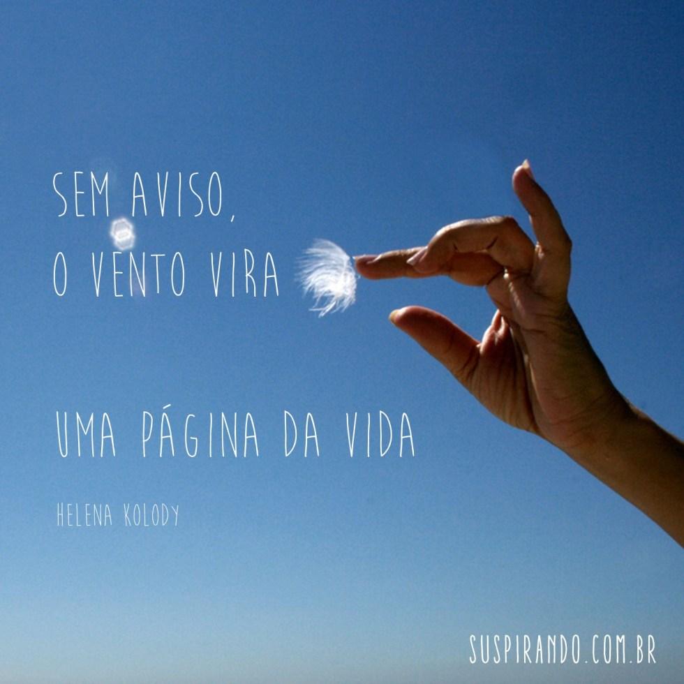 Sem aviso, / o vento vira / uma página da vida (Helena Kolody)