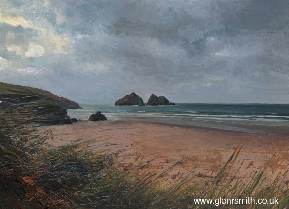 Gull Rocks, Holywell Bay - a painting of the rugged Cornish coastline by Glen Smith