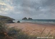 Gull Rocks, Holywell Bay - a painting of the rugged Cornish coastline by Glen Smith
