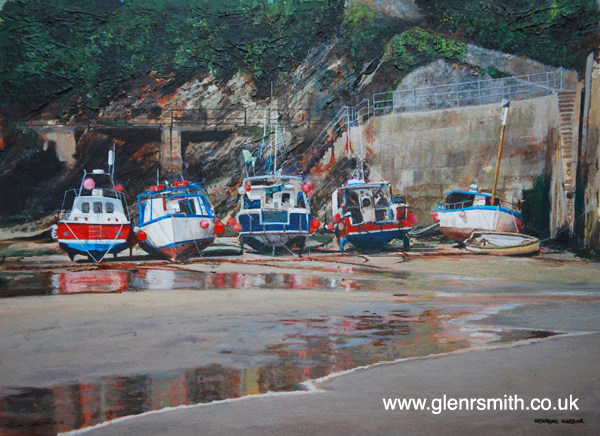 A painting of Newquay harbour at low tide by Glen Smith