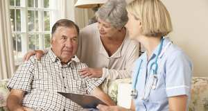 Sick man getting help at home