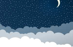 Stars in night sky with crescent moon