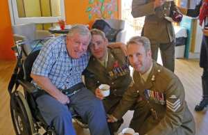 Carehome resident with soldiers