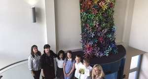 Jo Norman with students and staff from Glebe Primary School