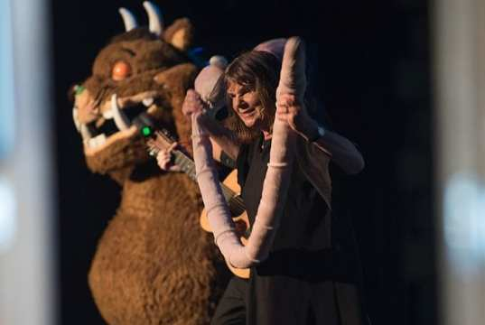 Julia Donaldson MBE on stage with her Gruffalo at the Steyning Festival