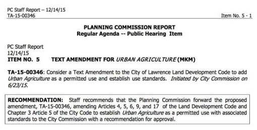 Planning Commission  Report on Urban Agriculture