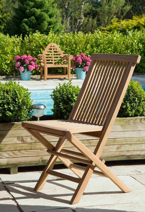 set of two classic teak folding chairs