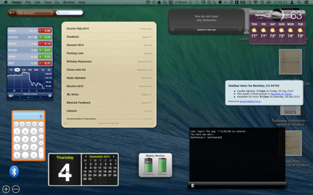 Dashboard widgets shown (from top left): Dictionary, Delivery Status, Weather, Stocks, Notefile, Hebcal, Calculator, Bluetooth Switch, Calendar, Mighty Monitor, iTerm