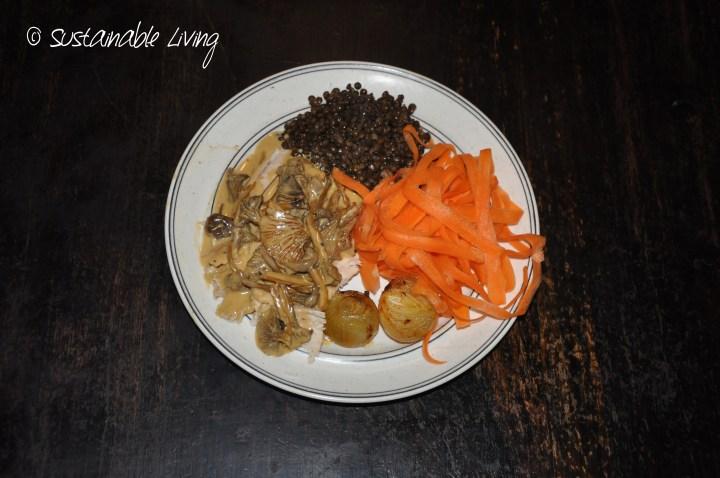 Kyckling med belugalinser och svampsås