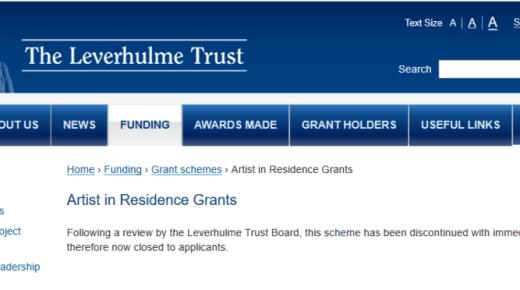 Leverhulme Trust terminates Artist in Residence Grants