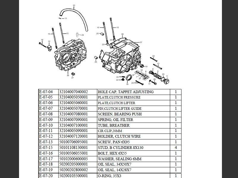 SUTTER® Parts Manual for Reinmech-Motortek MT125H Engine