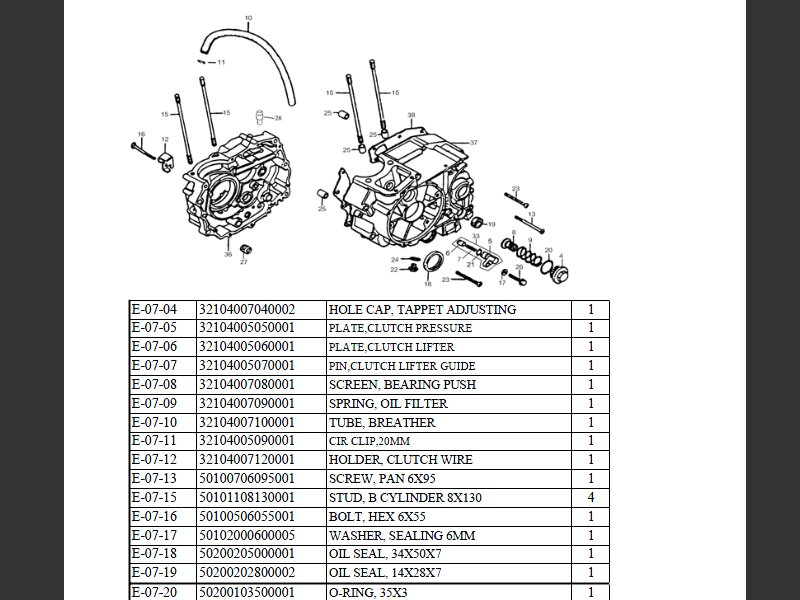 SUTTER® Parts Manual for Reinmech-Motortek MT125H Engine