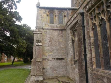 West wall of north transept showing deteriorated stonework
