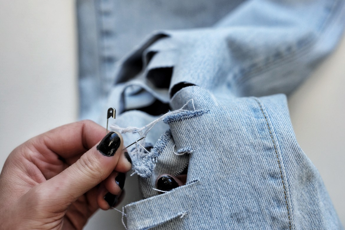 DIY pin needle jeans