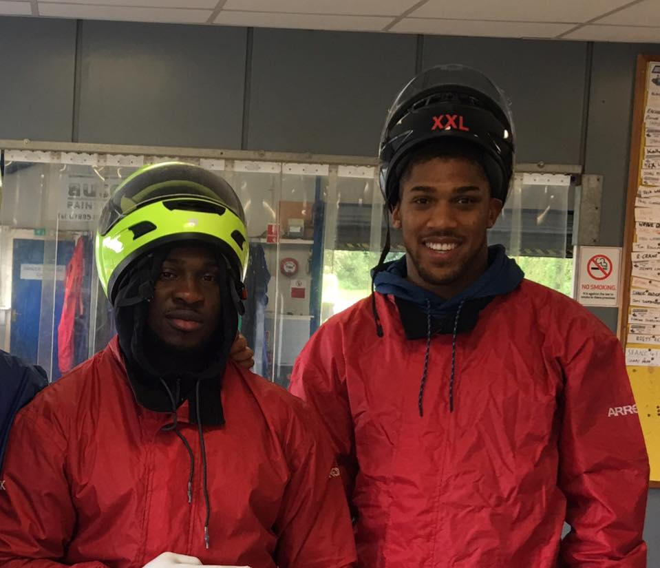 Anthony Joshua Crash Helmet On at Sutton Circuit in Leicestershire