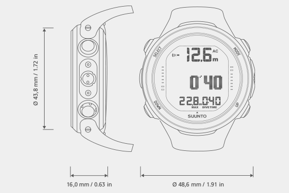 Suunto Computer D4i Novo in Optional Color with USB Cab