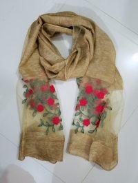 Embroidered Organza Scarf - Mustard - SuZain Hijabs