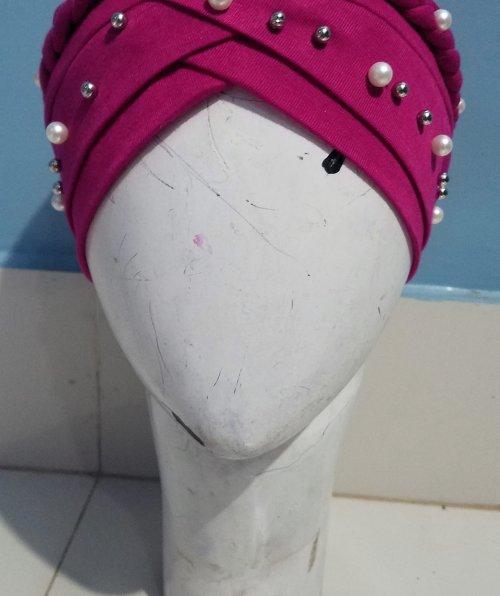 Criss Cross Pearl Full Cap - Deep Pink